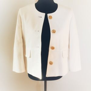 Kasper Nautical Sailor Button White Cardigan